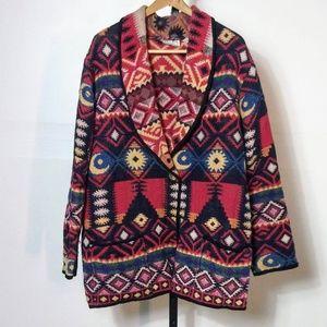 Vtg Venezia Vitale Woven Coat Aztec Tribal XL